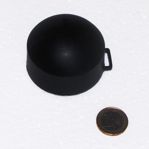 passives Radon Messgerät - Größenvergleich mit 1-Euro-Münze